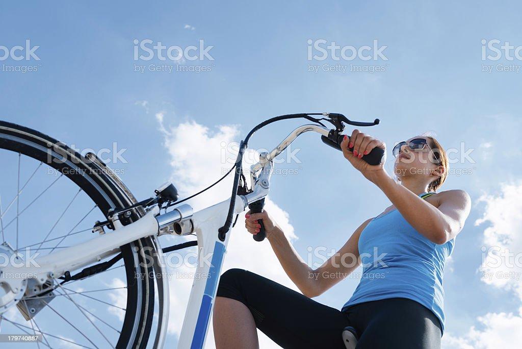 E-bike riding stock photo