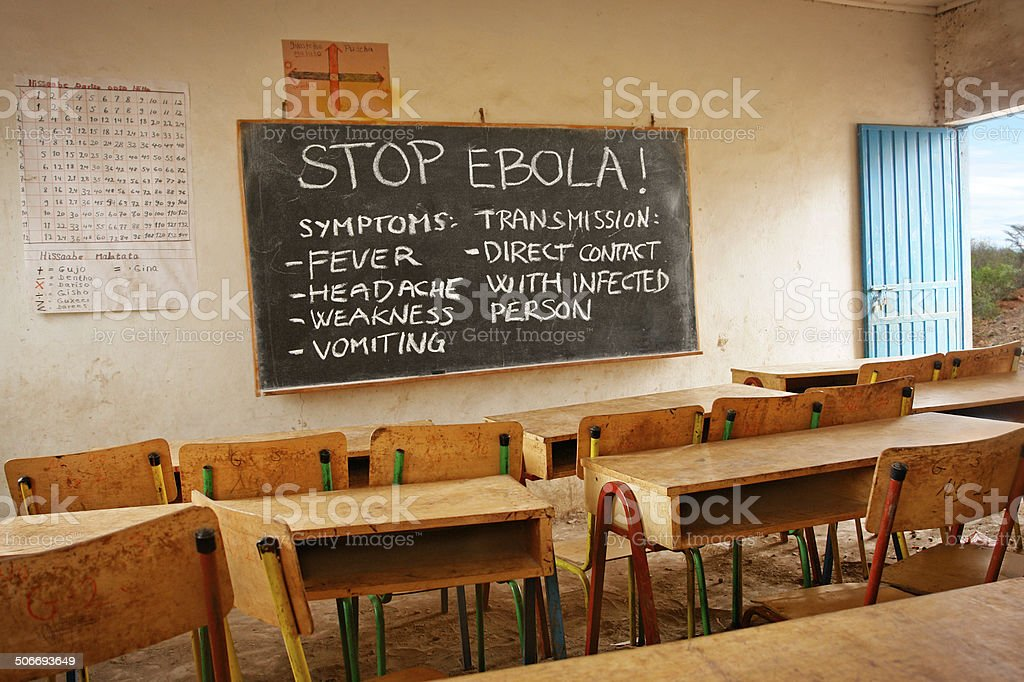 Ebola information in African school stock photo
