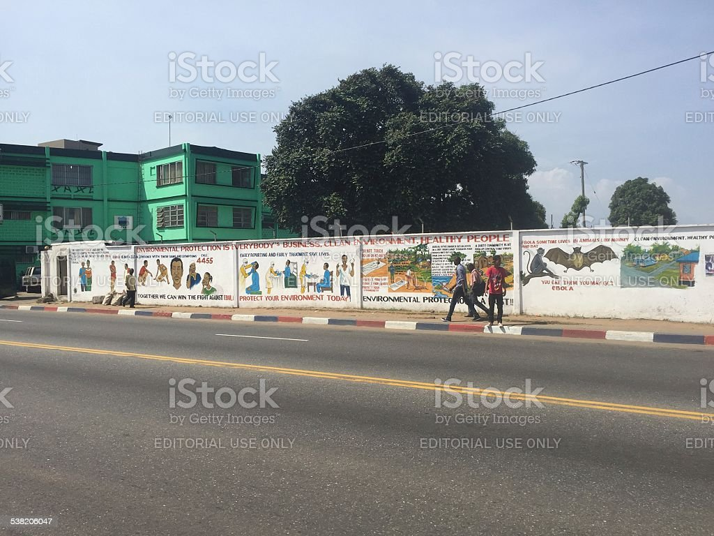 Ebola warning wall painting stock photo