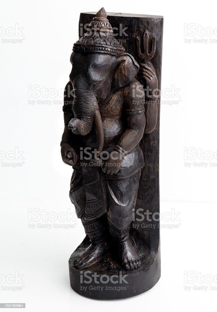 Ebony wood Ganesha Thai hand made sculpture royalty-free stock photo