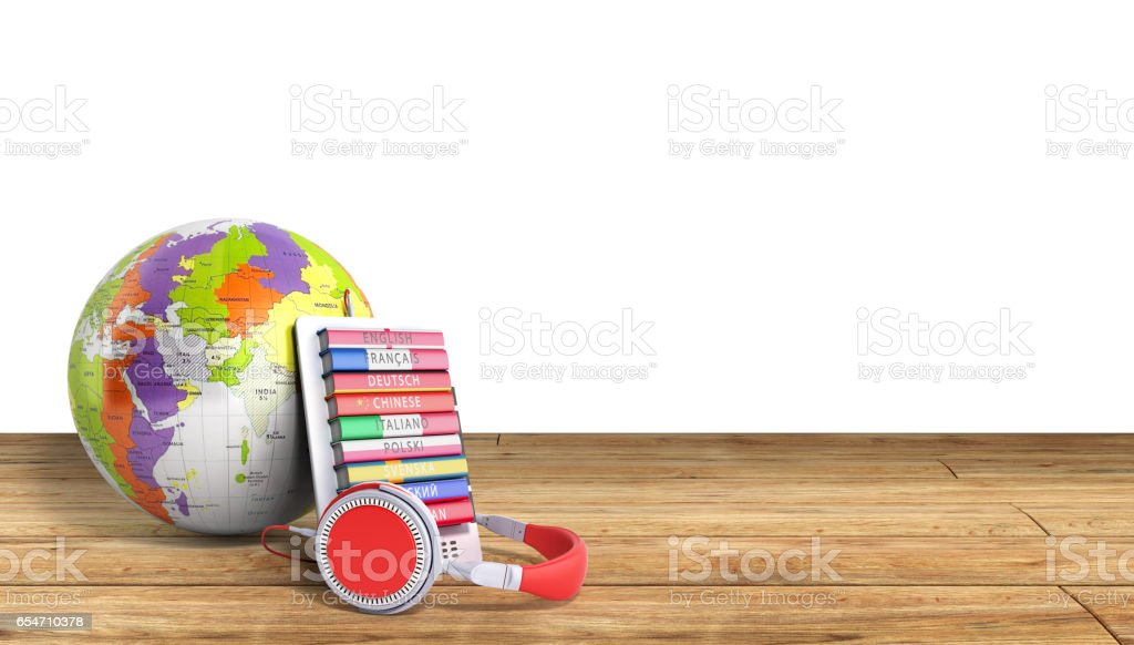 e-boock whith globe audio learning languages 3d render no shadow stock photo