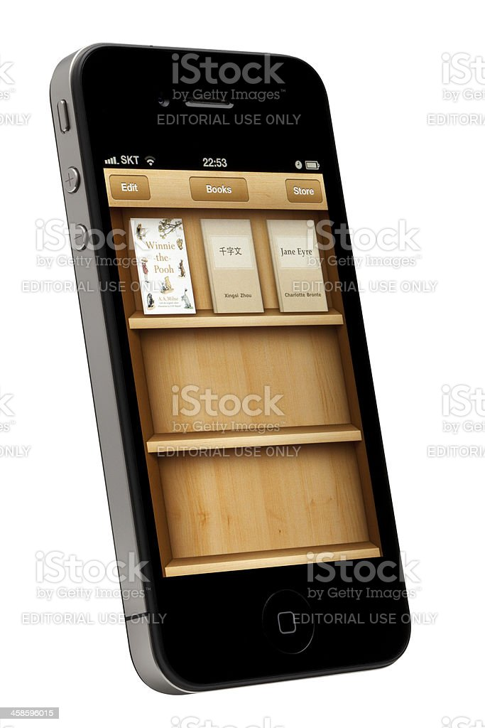 e-Book App on Apple iPhone royalty-free stock photo