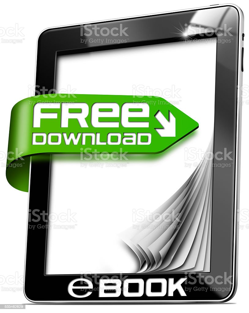 E-Book Free Download - Tablet Computer stock photo