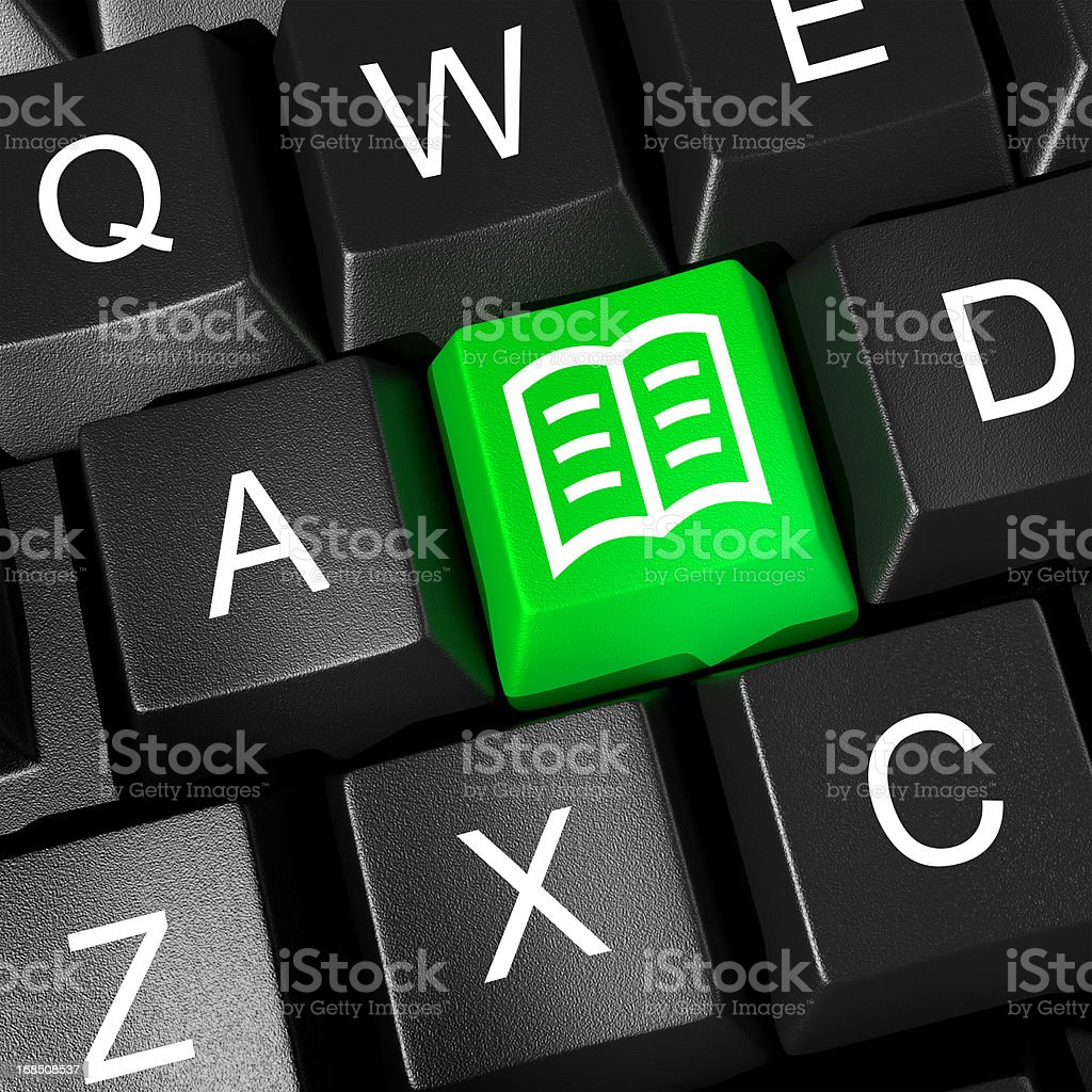 eBook Icon On Computer Keyboard-Learning Concept royalty-free stock photo