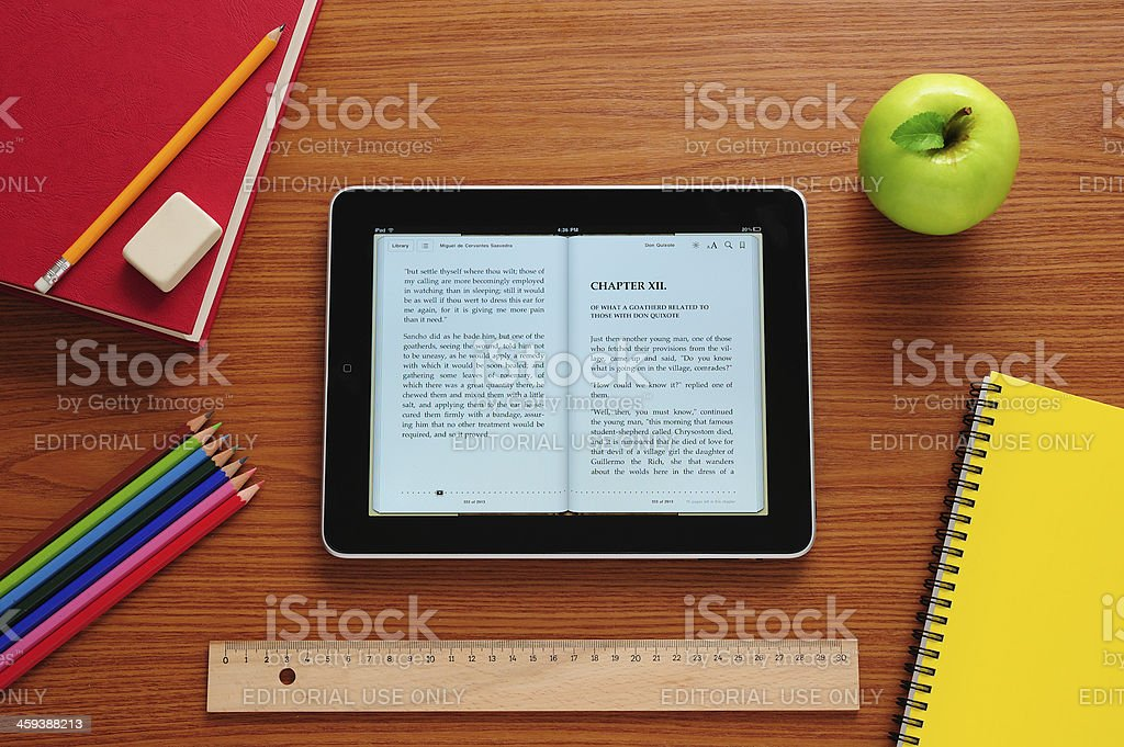 E-book in school royalty-free stock photo