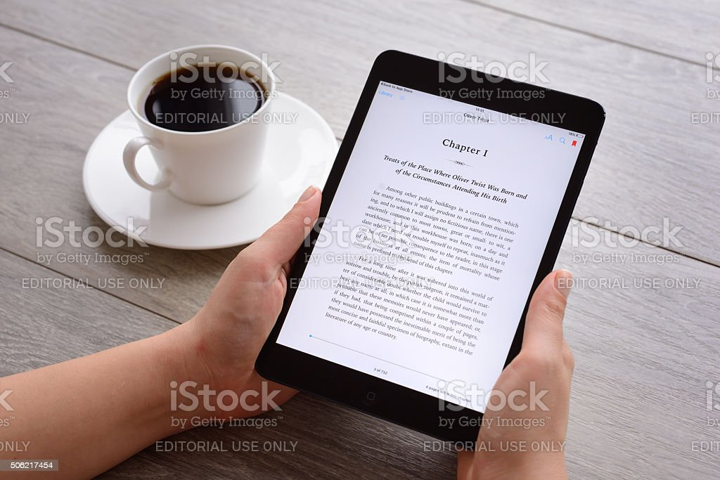 e-book on Apple iPad stock photo