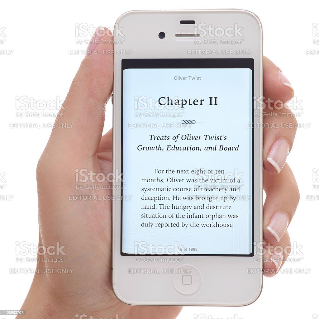 e-book on iPhone stock photo