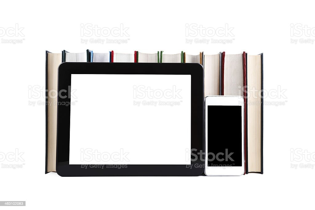 E-Book reader and online library stock photo