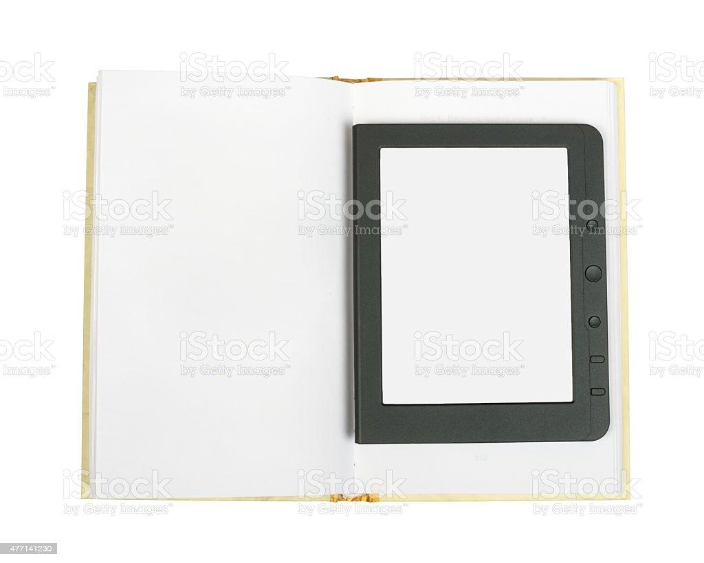 E-book reader on blank book stock photo