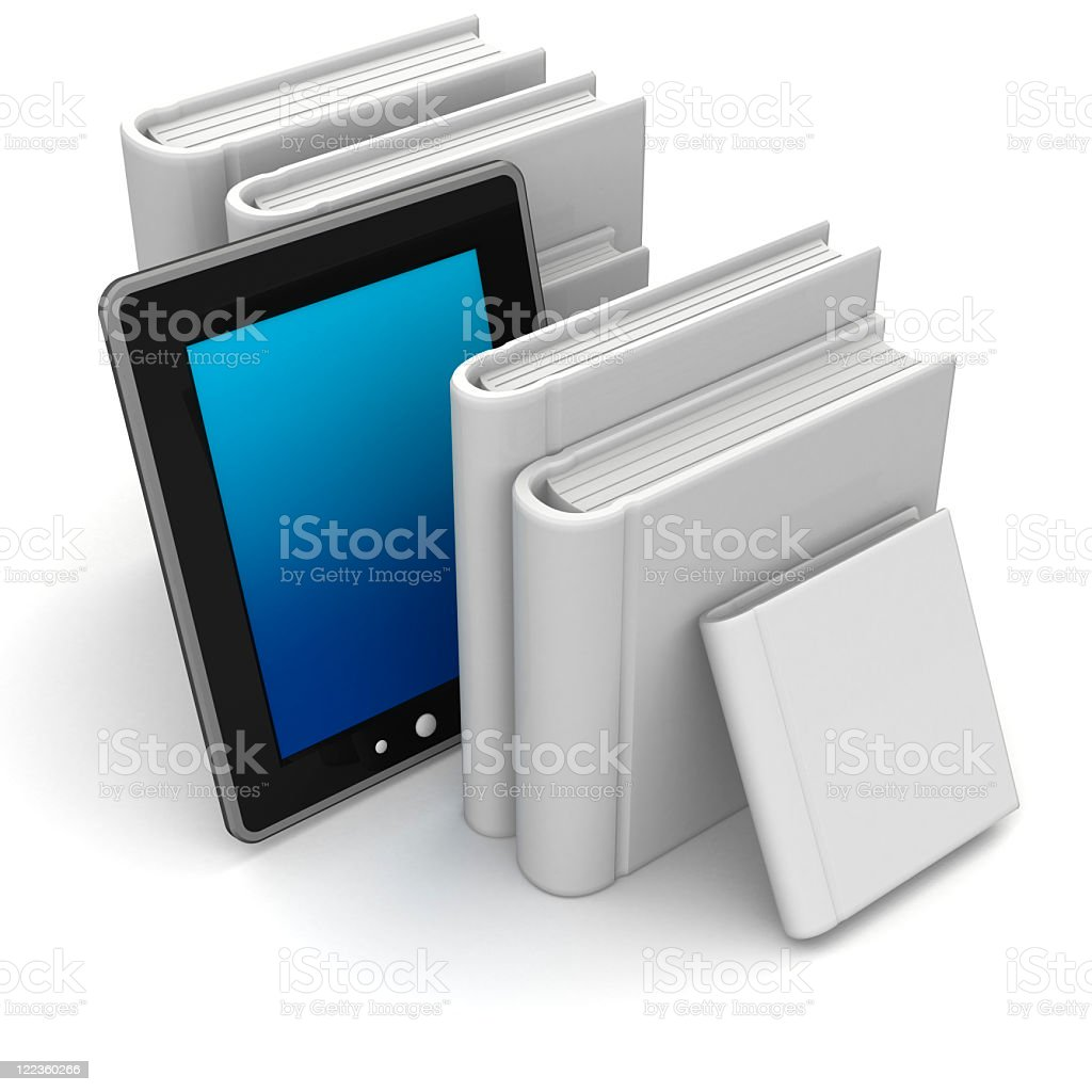 E-book tablet, propped between six, white covered textbooks royalty-free stock photo