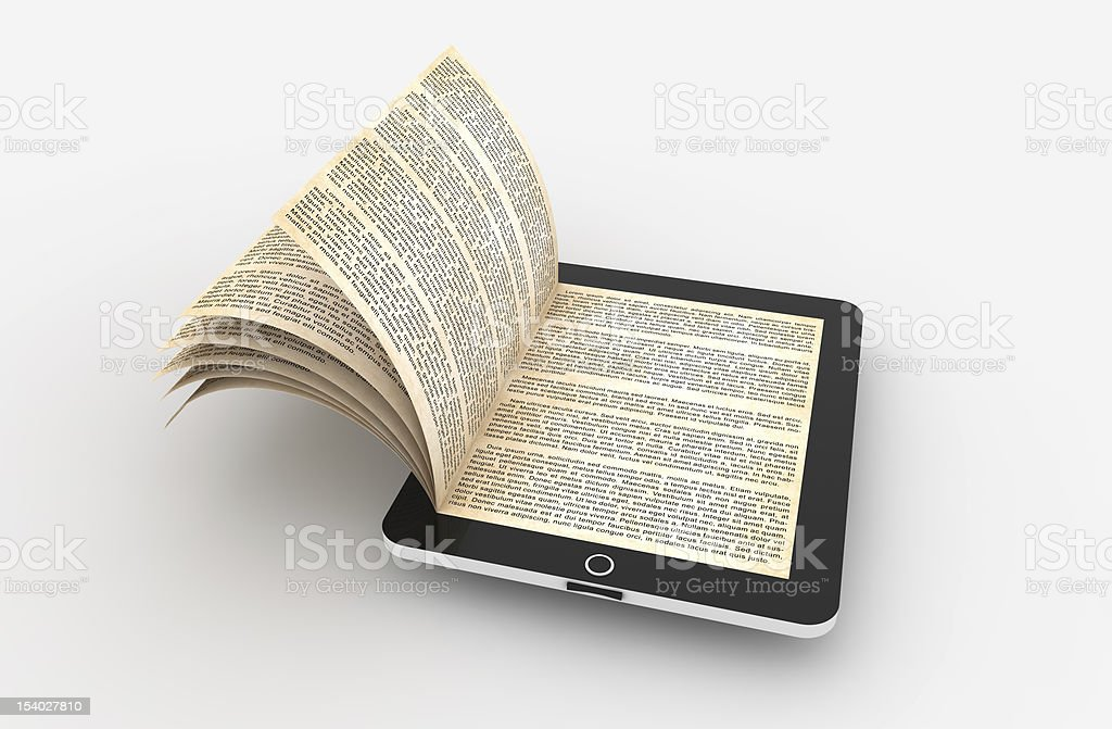 E-book tablet with paper book pages opening out of screen stock photo