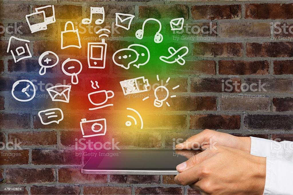 Ebook, user, tablet stock photo