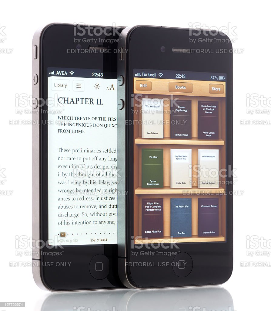 E-books on iPhone 4 royalty-free stock photo