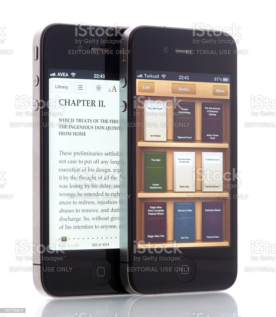 E-books on iPhone 4 stock photo