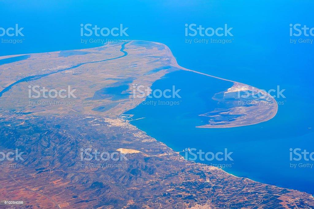 Ebro Delta from the air stock photo