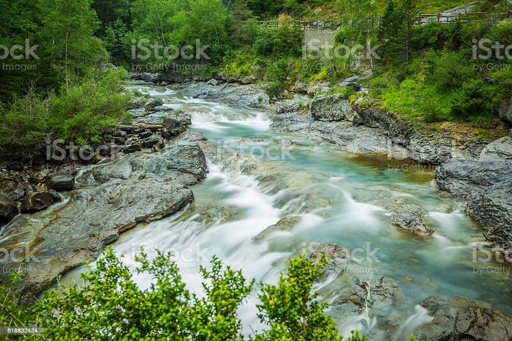 Ebro river through a valley in Cantabria, Spain stock photo