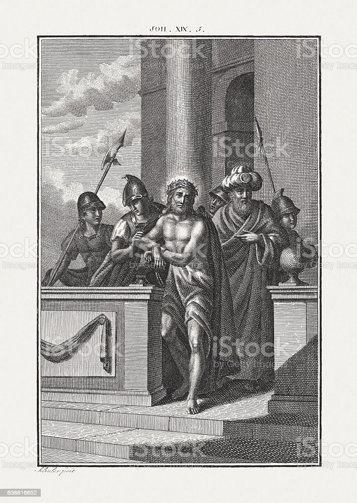 Ecce homo (John 19, 5), copper engraving, published c. 1850 stock photo