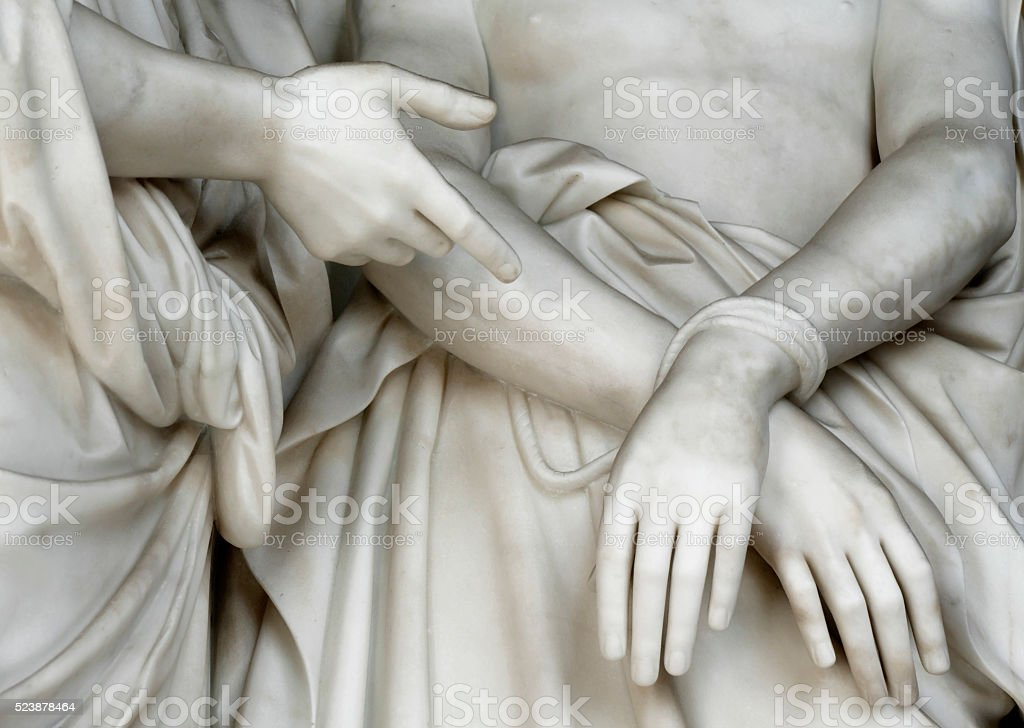 Ecce Homo - Jesus's hands and Pontius Pilate' hand stock photo