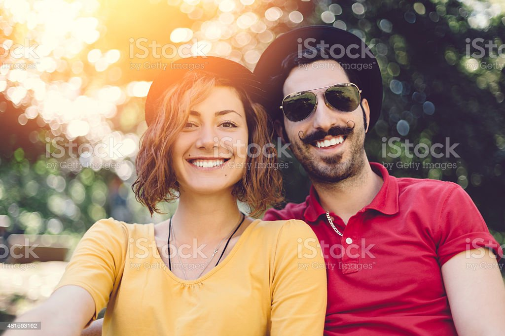 Eccentric couple on a vacation stock photo