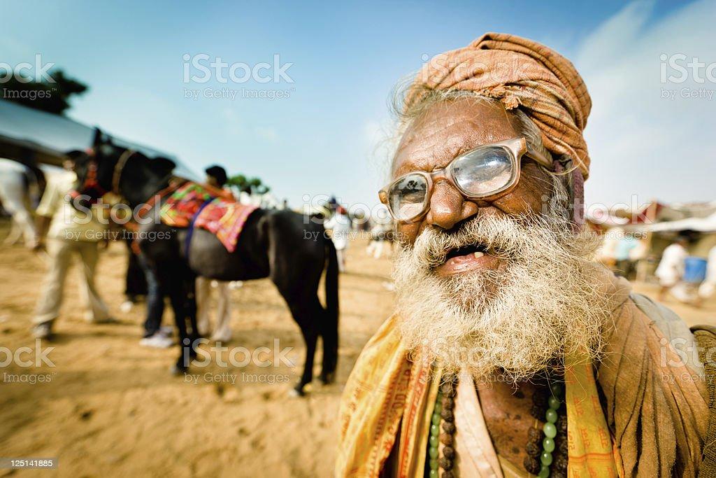 Eccentric Indian Man Pushkar Camel Fair India Character Portrait royalty-free stock photo