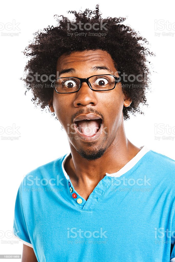 Eccentric nerd is happily surprised: isolated on white royalty-free stock photo