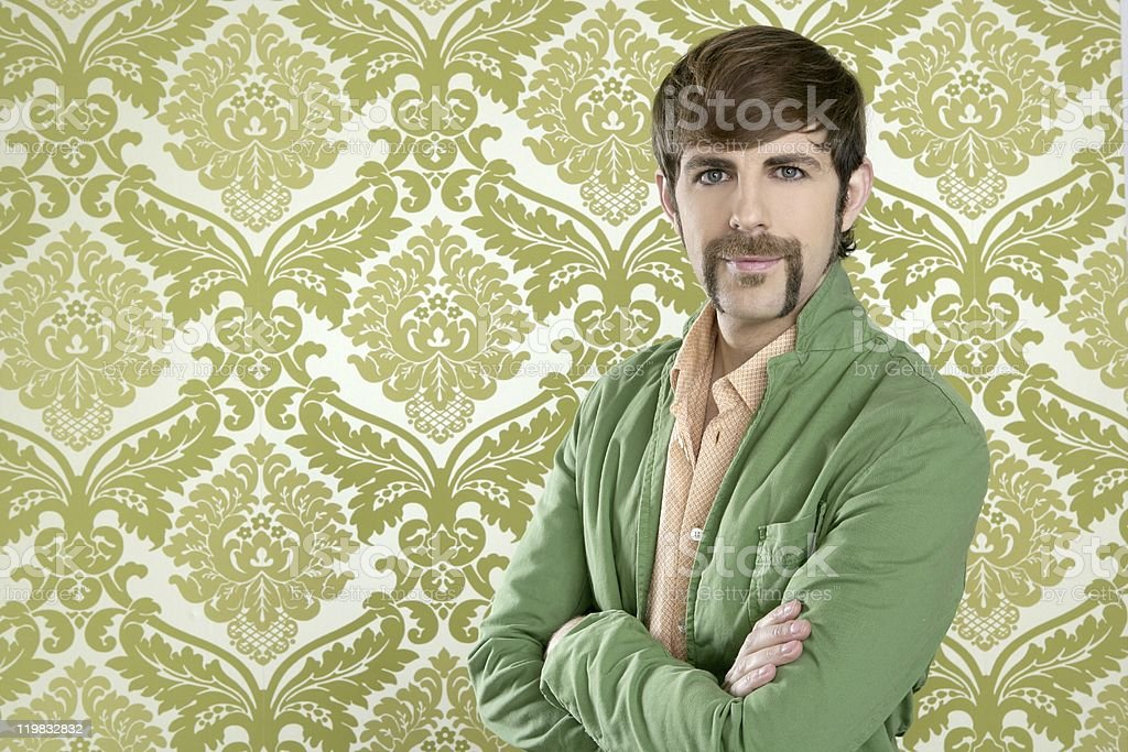 Eccentric salesman with a geeky retro mustache by wallpaper stock photo