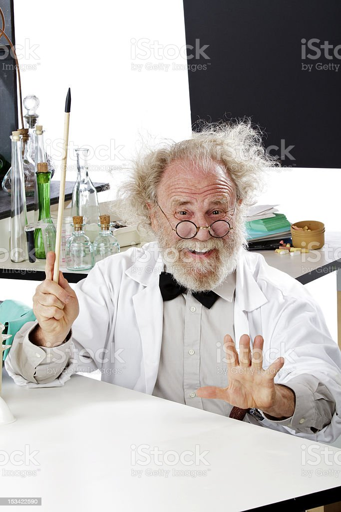 Eccentric scientist in lab gestures with pointer royalty-free stock photo