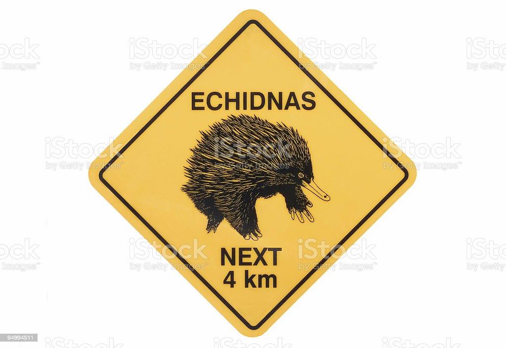 Echidna warning sign royalty-free stock photo