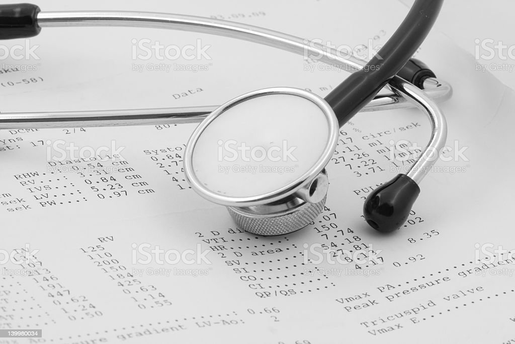 echocardiographical test results with stethoscope stock photo