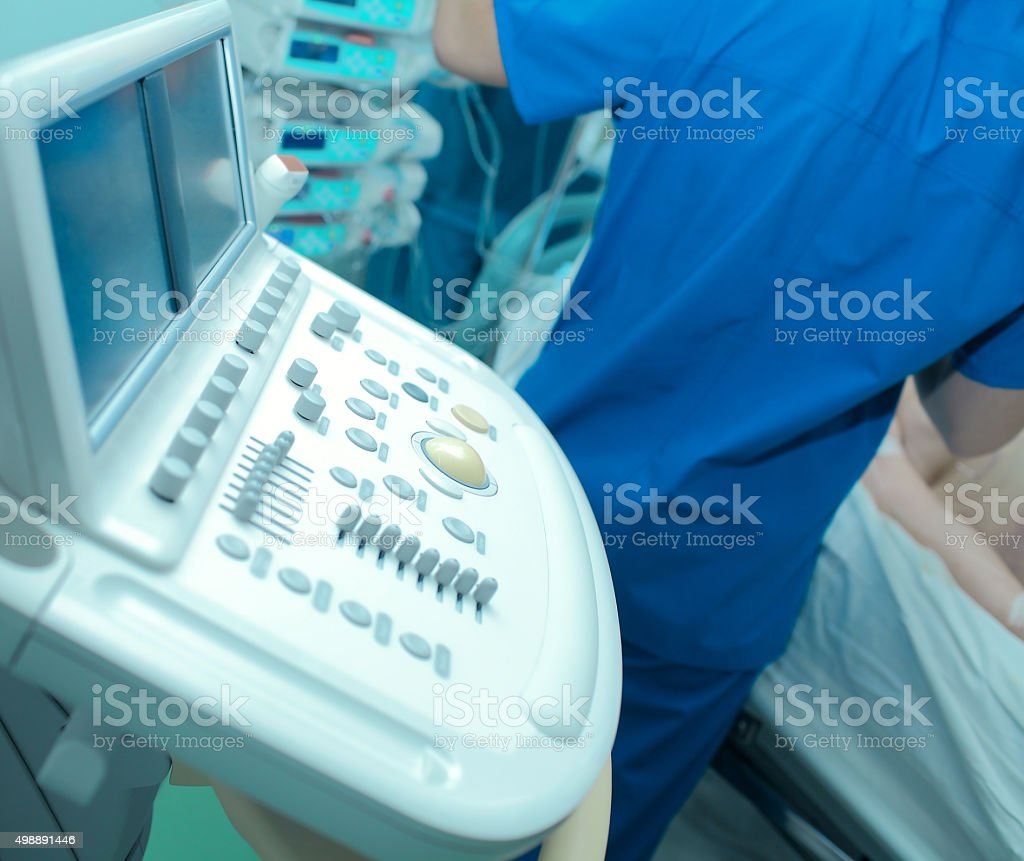 Echocardiography in the hospital doctor carries out stock photo