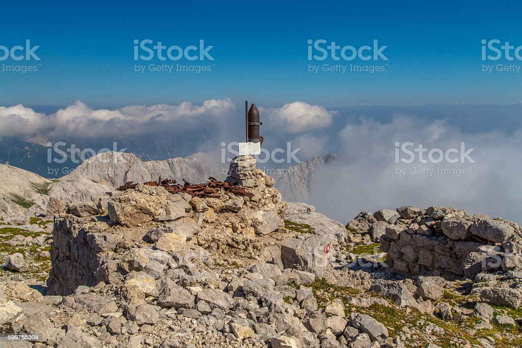 Echoes of world war one on mountain Batognica, Slovenia stock photo