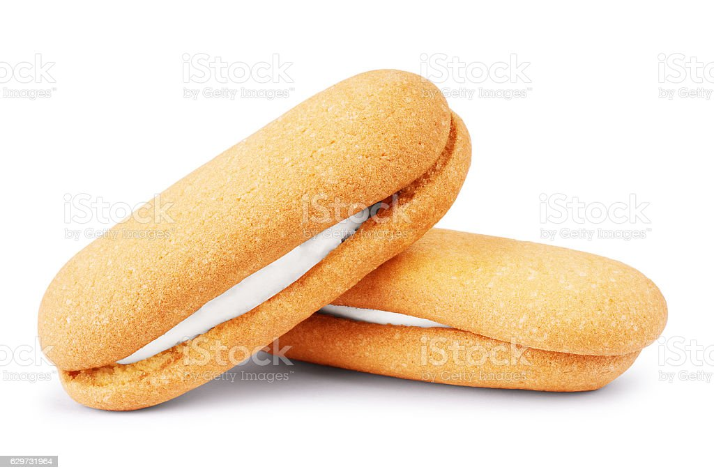 Eclairs on white background stock photo