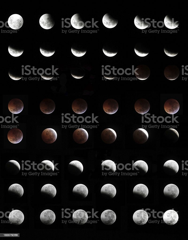 Eclipse, in all phases of the moon. stock photo