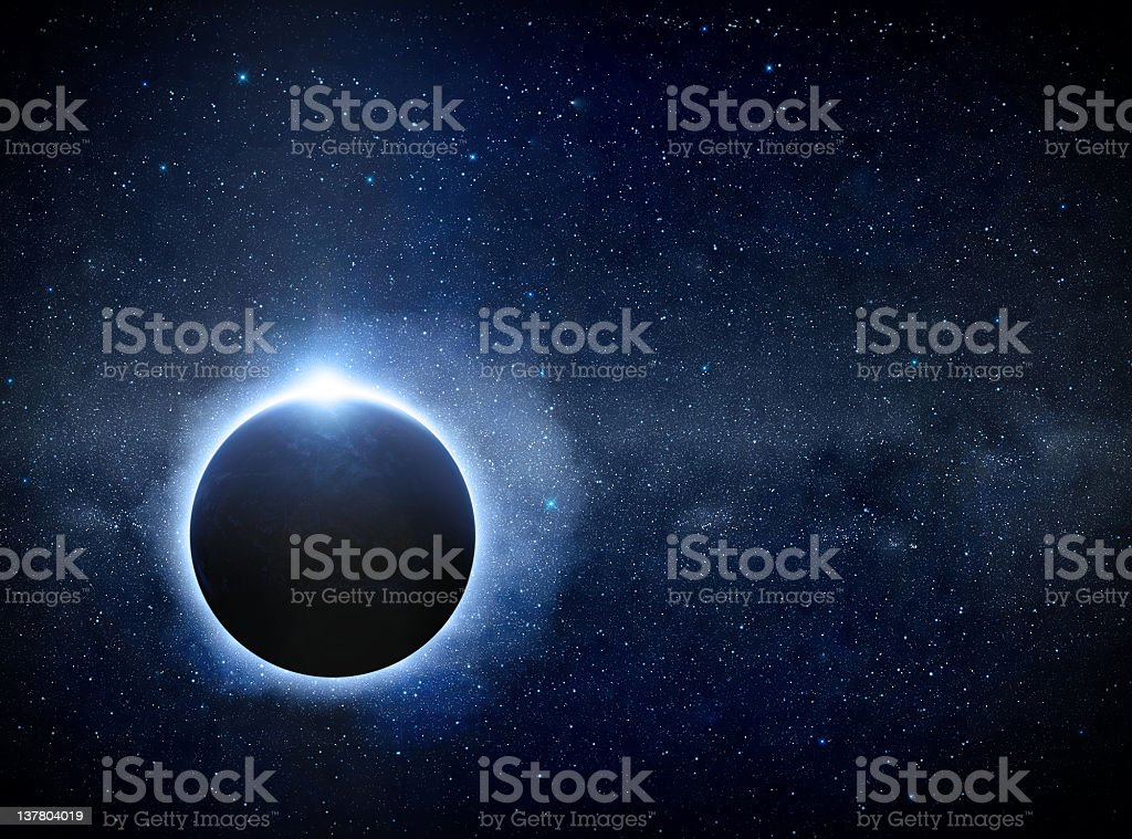 Eclipse over the Planet Earth stock photo