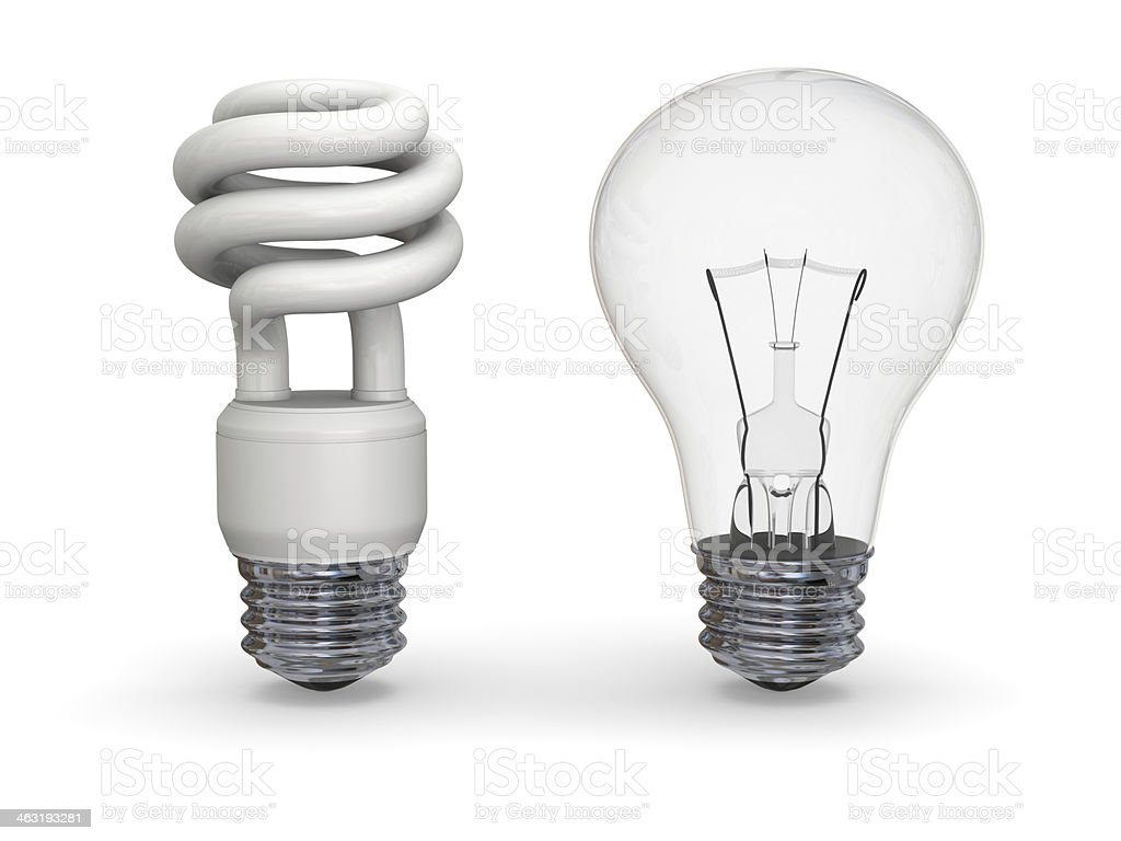 Eco and traditional lighbulbs stock photo