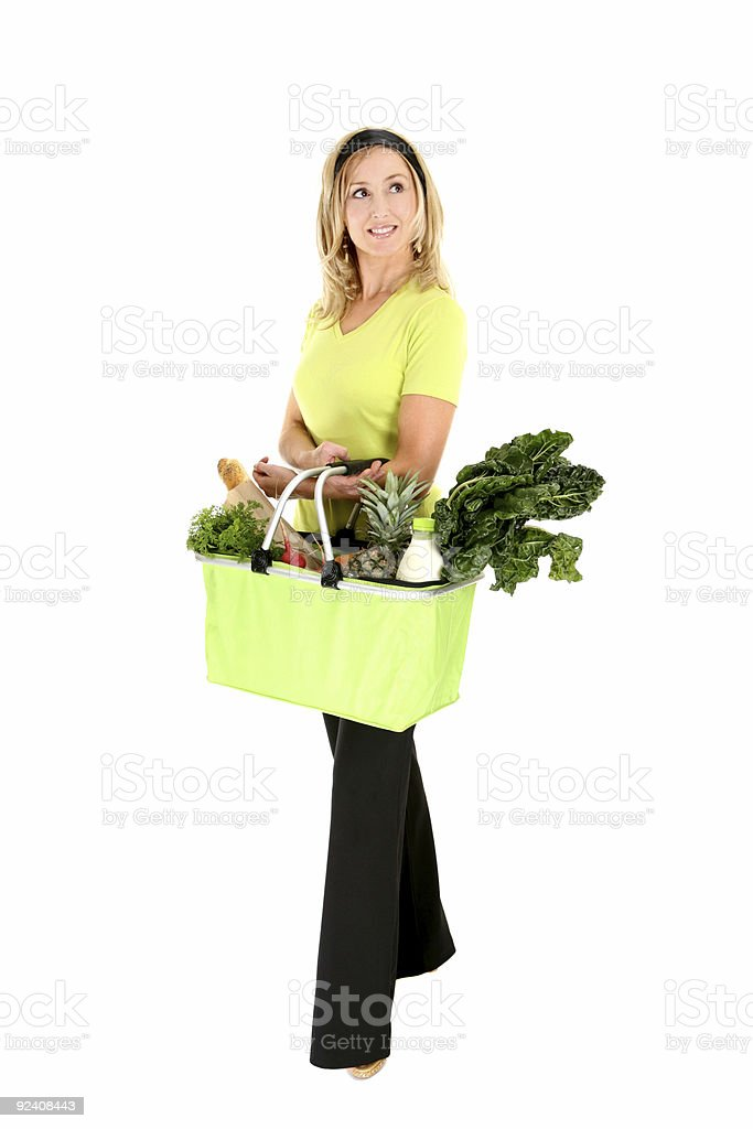 Eco aware shopper looking sideways royalty-free stock photo