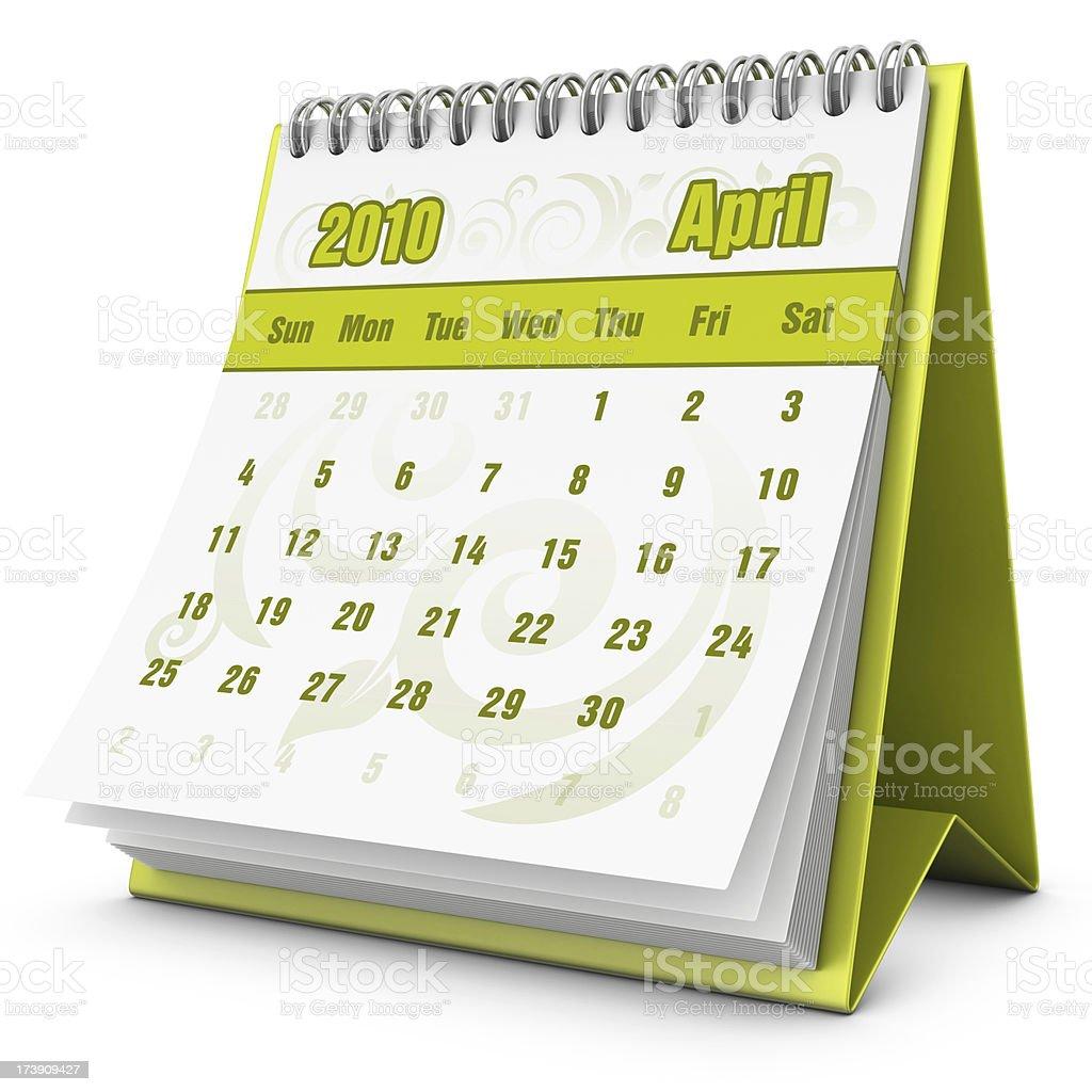 eco calendar April 2010 royalty-free stock photo