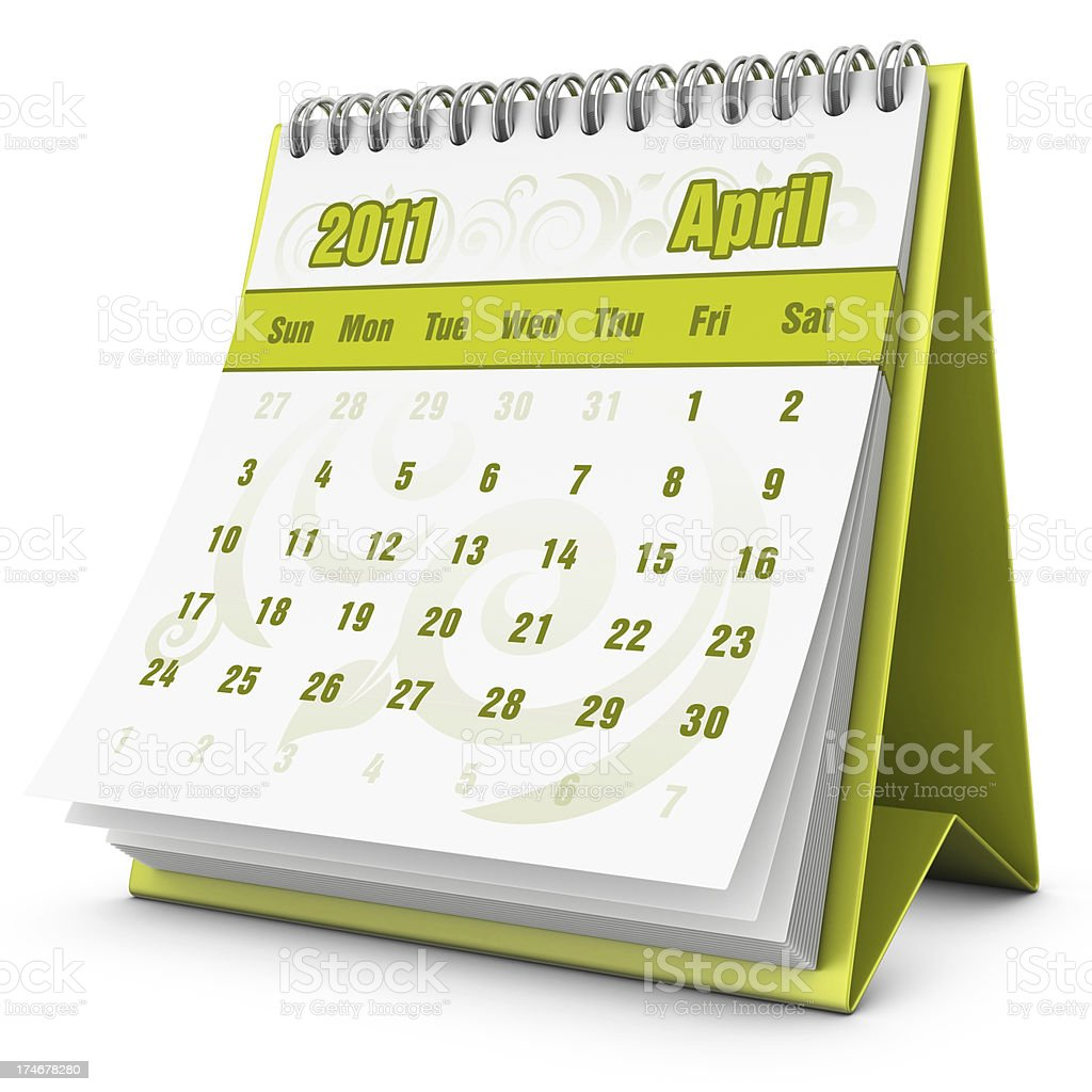 eco calendar April 2011 royalty-free stock photo