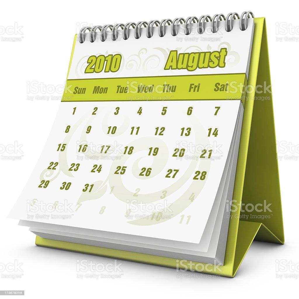 eco calendar August 2010 royalty-free stock photo