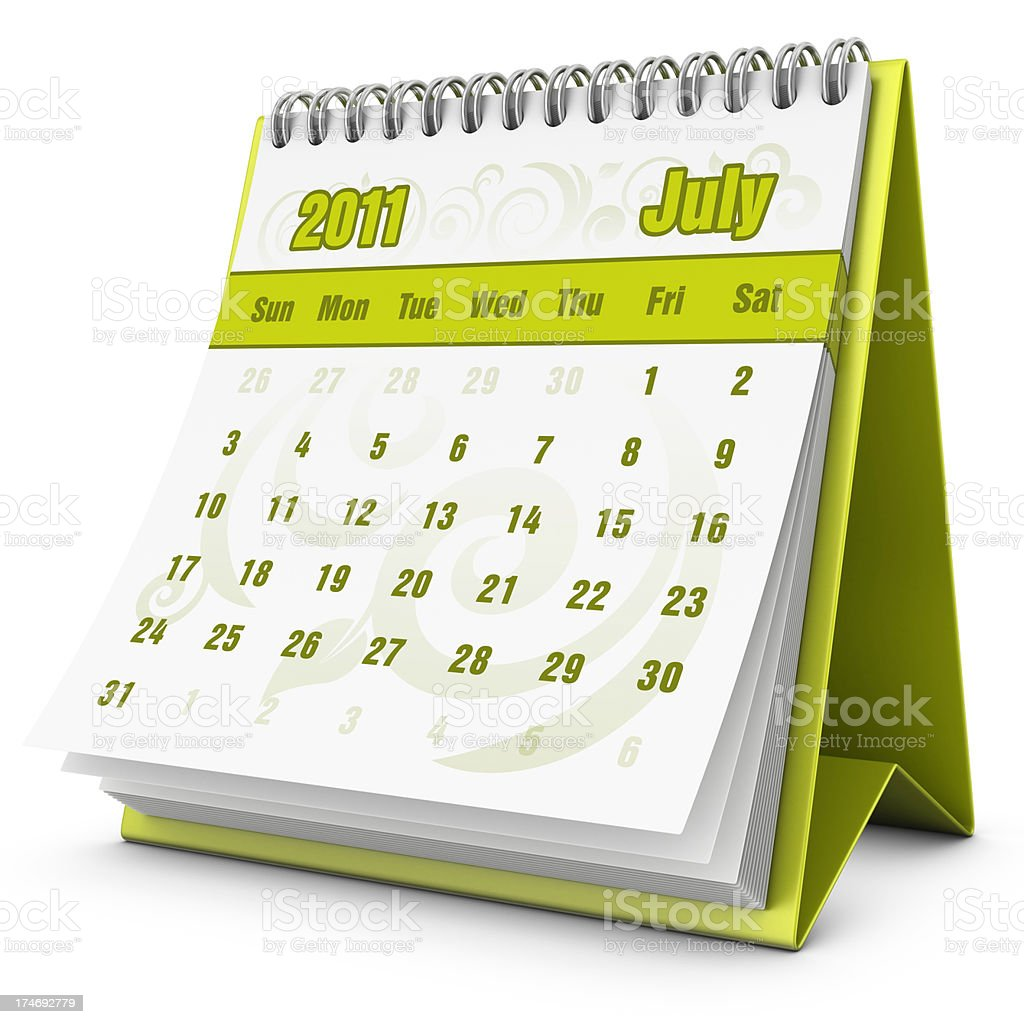 eco calendar July 2011 royalty-free stock photo
