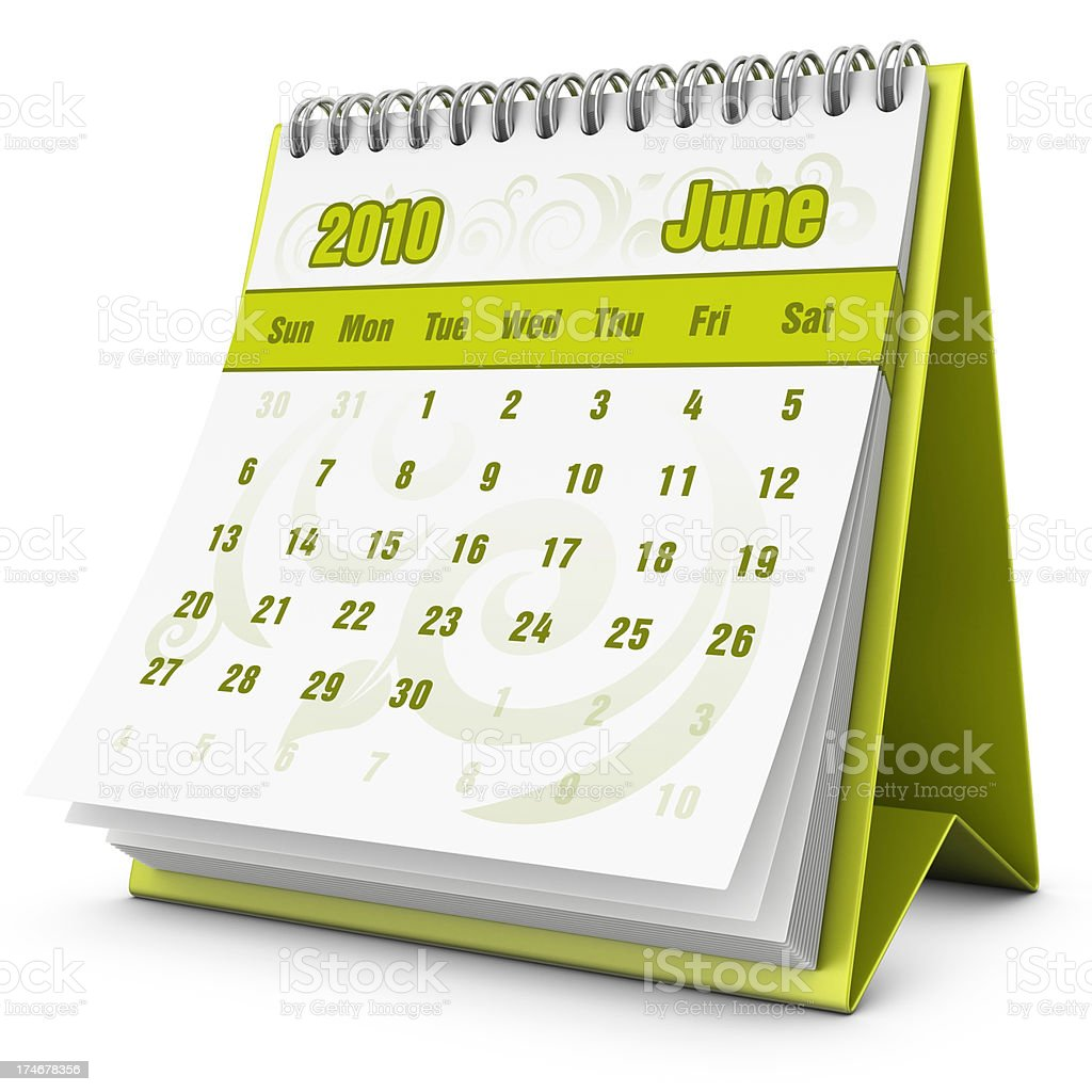 eco calendar June 2010 royalty-free stock photo