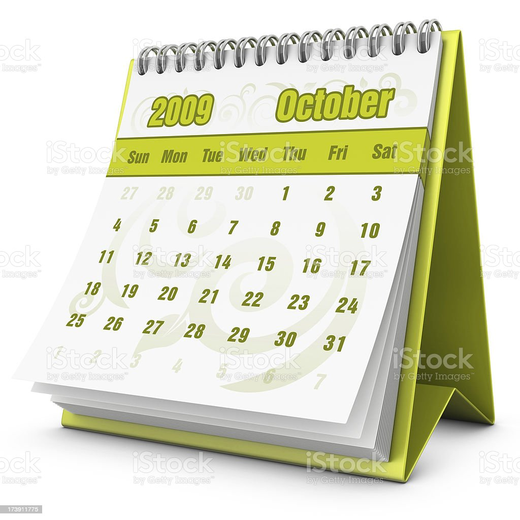 eco calendar October 2009 royalty-free stock photo