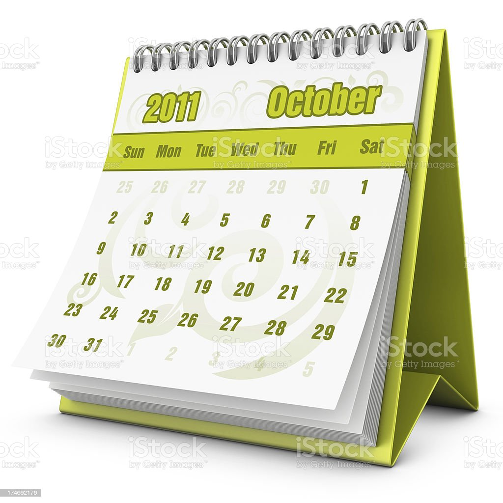 eco calendar October 2011 royalty-free stock photo