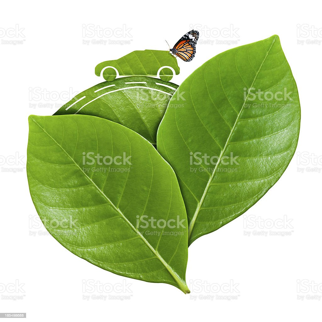 Eco Car on leaf royalty-free stock photo