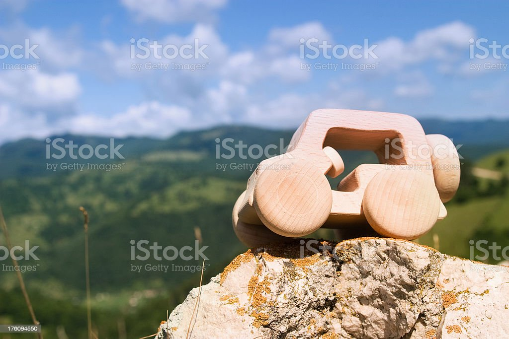 Eco car on top of the mountains royalty-free stock photo