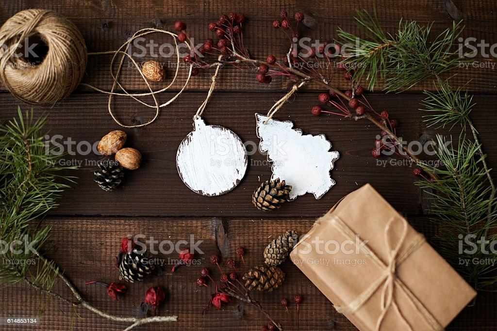 Eco Christmas decoration stock photo