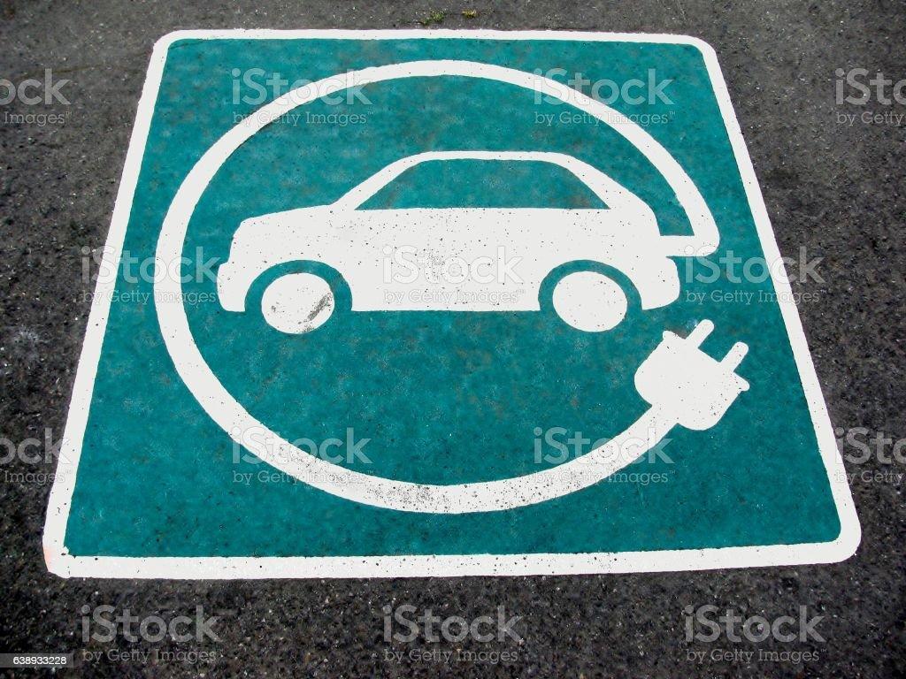 Eco electric car sign on asphalt stock photo