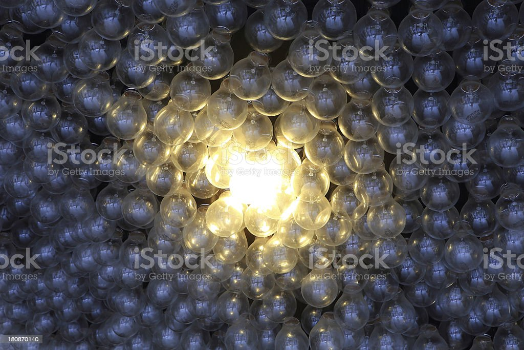 Eco energy saving light bulb , one glowing compact fluorescent l royalty-free stock photo