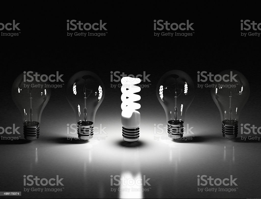 Eco energy saving light bulb stock photo