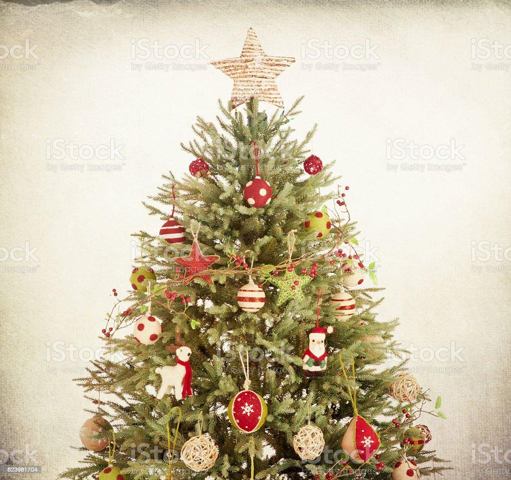 Eco Enviornmentally Friendly, Holiday Christmas Tree on Textured Background stock photo